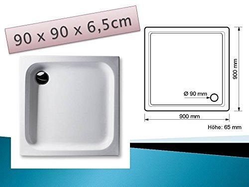 Acryl Duschwanne 90 x 90 cm flach rechteckig weiß Dusche / Duschtasse / Brausewanne