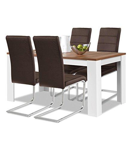 Agionda® Esstisch + Stuhlset : 1 x Esstisch Toledo Nussbaum Weiss 140 x 80 + 4 Freischwinger braun