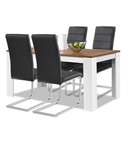 Agionda® Esstisch + Stuhlset : 1 x Esstisch Toledo Nussbaum Weiss 140 x 80 + 4 Freischwinger schwarz