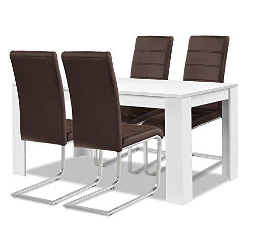 Agionda® Esstisch + Stuhlset : 1 x Esstisch Toledo Weiss 140 x 80 + 4 Freischwinger braun
