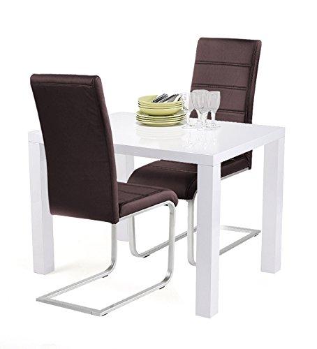 Agionda® Esstischset Göteborg 100 x 60 mit 2 Freischwinger JAN PIET Kunstleder braun für die kleine Küche