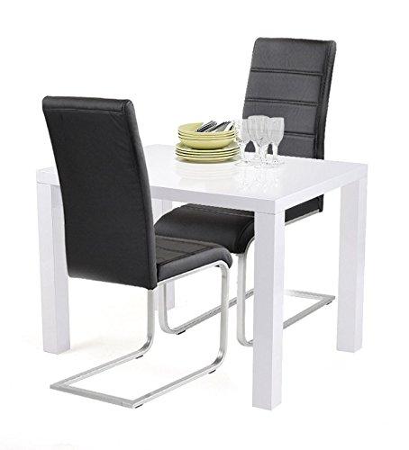Agionda® Esstischset Göteborg 100 x 60 mit 2 Freischwinger Kunstleder schwarz für die kleine Küche