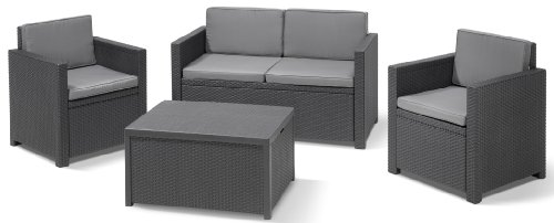 Allibert-220025-Lounge-Set-Monaco-mit-Kissenbox-Tisch-2x-Sessel-und-1x-Sofa-Rattanoptik-Kunststoff-graphit-0