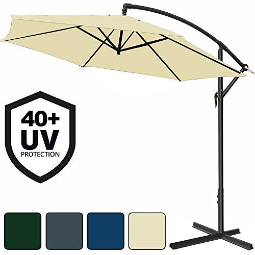Alu Ampelschirm Ø300cm - 350 cm mit Kurbelvorrichtung und UV-Schutz 40+ Sonnenschirm Marktschirm Gartenschirm - Farbauswahl