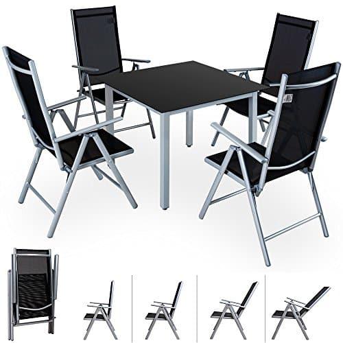 Alu Sitzgruppe Sitzgarnitur Gartengarnitur Tischplatte aus Glas + klappbare und neigbare Stühle Modellauswahl