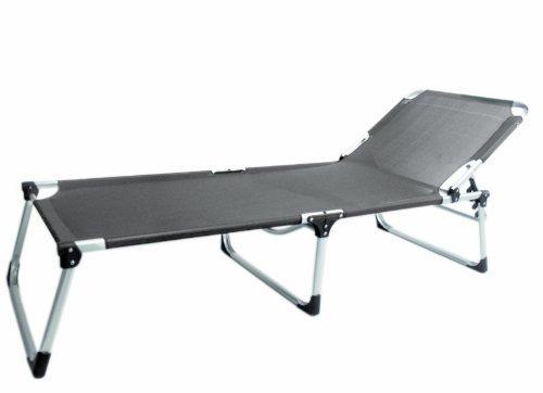 Alu-Sonnenliege Extra Hoch Extra Lang Rückenlehne 3-fach verstellbar 192x71x40cm Grau