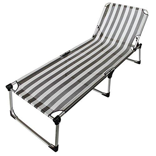 Alu Sonnenliege grau gestreift - Extra hoch Extra lang extra Extra breit
