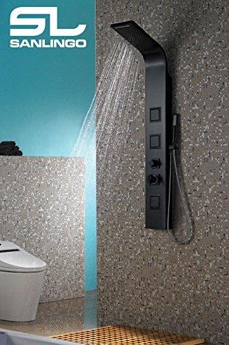 Aluminium Duschpaneel Duschsäule Regendusche Wasserfall Handbrause Massage Matt Schwarz Sanlingo