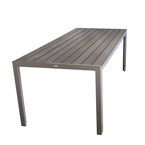 Aluminium Gartentisch Esszimmertisch Esstisch Küchentisch mit Polywood Non Wood Tischplatte 205x90cm Champagner Gartenmöbel Terrassenmöbel