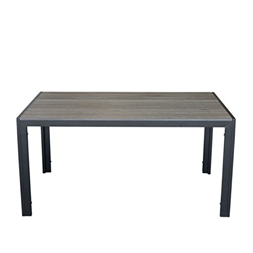 Aluminium Gartentisch mit Polywood Tischplatte mit Holzprägung 150x90cm Balkonmöbel Terrassenmöbel Gartenmöbel Terrassentisch Schwarz / Grau