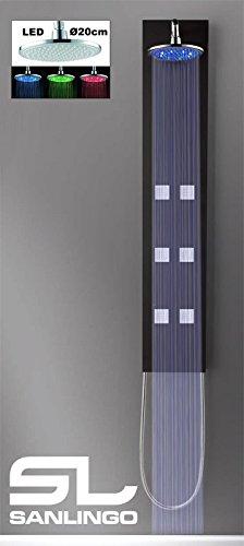 Aluminium LED Komplettdusche Duschpaneel Duschsäule Schwarz Regendusche Massage Sanlingo