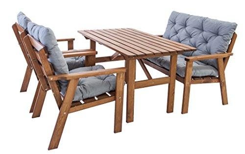 Ambientehome Garten Loungegruppe Sitzgruppe Essgruppe Massivholz inkl. Kissen HANKO, braun, 7-teiliges Set