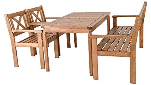 Ambientehome Garten Sitzgruppe Essgruppe Massivholz EVJE, braun, 4-teiliges Set