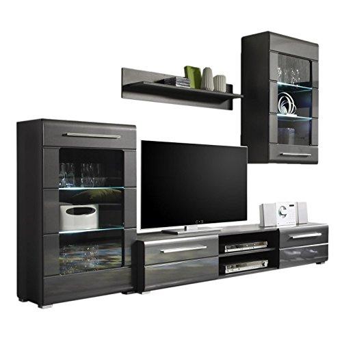 Anbauwand Wohnwand grau metallic Hochglanz LED Beleuchtung Schrank Hängeschrank TV Board Regal