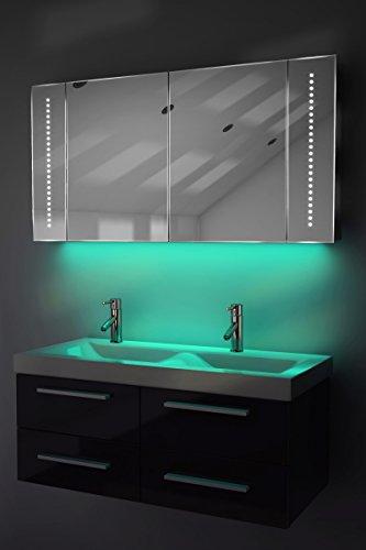 Antibeschlag-Spiegelschrank Bad Raumbeleuchtung, Sensor & Rasiersteckdose K126T