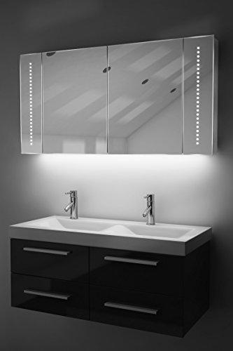 Antibeschlag-Spiegelschrank Bad Raumbeleuchtung, Sensor & Rasiersteckdose K126W