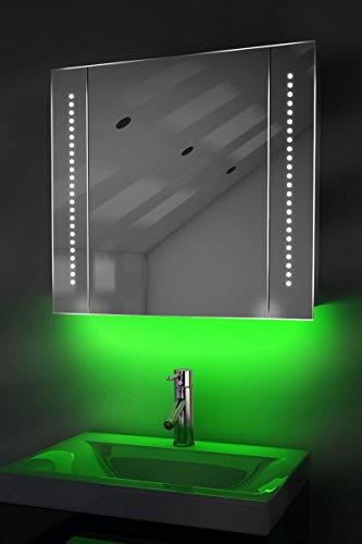 Antibeschlag-Spiegelschrank Bad Raumbeleuchtung, Sensor & Rasiersteckdose K65G