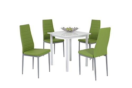 Apollo 811105 Essgruppe Anna, Quadratischer Tisch und 4-er Pack Stühle, Dekor weiß hochglanz apfelgrün