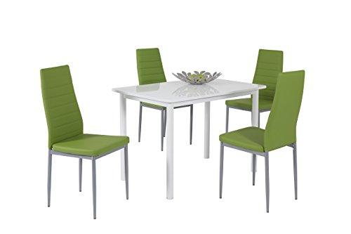 Apollo 811107 Essgruppe Anke, Rechteckiger Tisch und 4-er Pack Stühle, Dekor weiß hochglanz apfelgrün