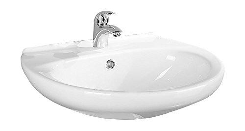 AquaSu Waschtisch Aveiro , 60 cm , Weiß , Waschbecken , Waschplatz , Handwaschbecken , Bad , Badezimmer , Keramik , Gäste-WC