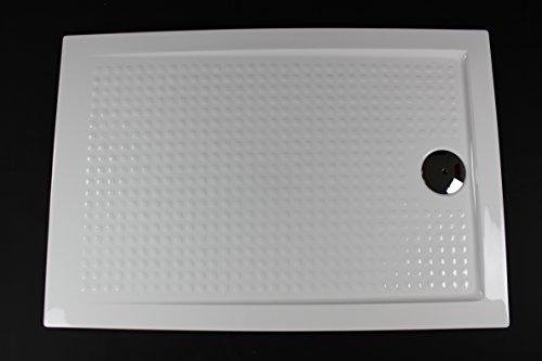 Art-of-Baan®- Extra flache Duschtasse, Duschwanne aus Acryl, ABS Weiß Hochglanz; 100x80x3,5cm inkl. Ablaufgarnitur