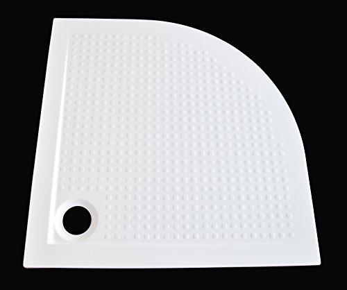 Art-of-Baan®- Extra flache Duschtasse, Duschwanne aus Acryl, Viertelkreis Antirutsch Weiß; 80x80x3,5cm inkl. Ablaufgarnitur