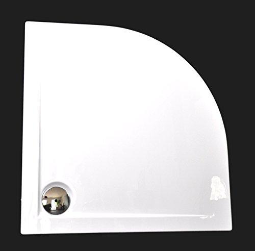 Art-of-Baan® - Extra flache Duschtasse, Duschwanne aus Acryl, Viertelkreis glatt Weiss; 90x90x3,5cm inkl. Ablaufgarnitur