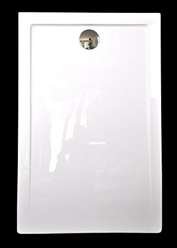 Art-of-Baan® - Extra flache Duschtasse, Duschwanne aus Acryl, glatte Oberfläche Weiß Hochglanz; 160x80x3,5cm inkl. Ablaufgarnitur