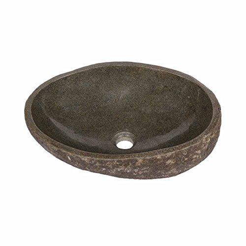 Aufsatz-Waschbecken Natur-Stein ✓ 40 cm ✓ oval natur ✓ Waschbecken aus Stein ✓ Naturstein Handwaschbecken einzeln geprüft und fotografiert ✓ Stein-Waschbecken versandkostenfrei WOHNFREUDEN