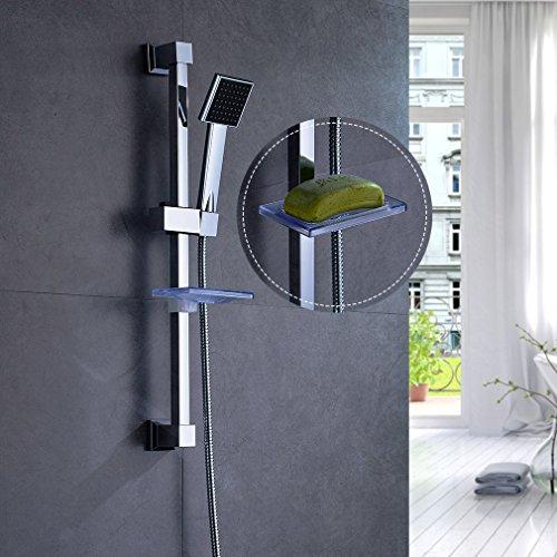 AuraLum Design Brausestange Handbrause Duschkopf Set, Eckig Regendusche Brauseset mit Brausehalter und 150cm Brauseschlauch