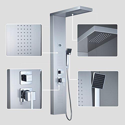 AuraLum Edelstahl Duschpaneel mit Massagejets Wasserfall Duschsäule Duschset mit LCD Display Wassertemperatur Anzeigen ink. Handbrause