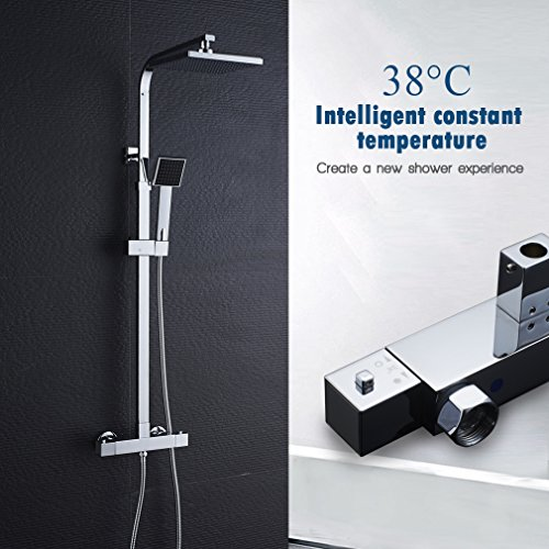 Auralum Duschsystem mit Thermostat Aufputz, Überkopfbrause-Set mit Kopfbrause und Handbrause, höhenverstellbar, eckig, chrom
