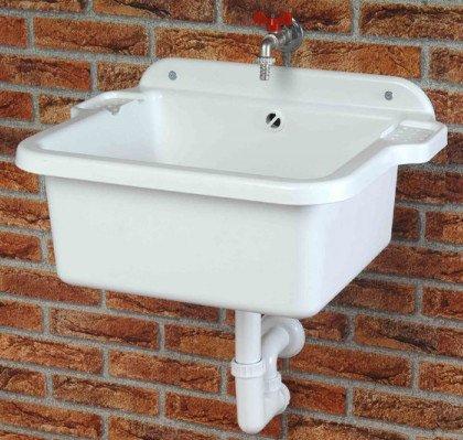 Ausgussbecken-Waschbecken-Splbecken-Waschtrog-Becken-inkl-Ablaufgarnitur-und-Schrauben-und-Dbel-fr-die-Wandbefestigung-0