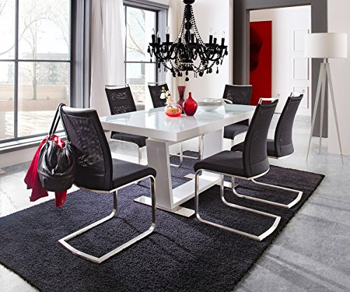 ausziehtisch salem weiss hochglanz 160 240 90 esstisch m bel24. Black Bedroom Furniture Sets. Home Design Ideas
