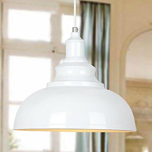 BAYCHEER-Hngeleuchter-Deckenleuchte-Industrielampe-Vintage-Lampenschirm-E27-Durchmesser-30CM-hhenverstellbar-Weiss-0