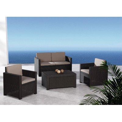 BEST 96114210 4-teilig Loungegruppe Menorca, braun / warmtaupe