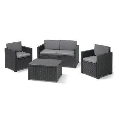 BEST 96114250 4-teilig Loungegruppe Menorca, graphit / coolgrau