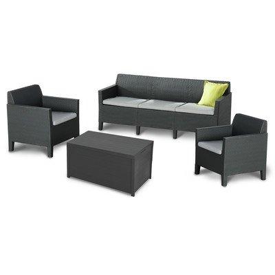 BEST 96114350 Loungegruppe 4-teilig Amalfi, groß, graphit / hellgrau