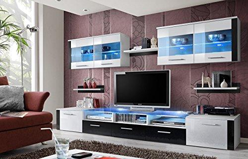 """BMF """"Zoom"""" Modern Hochglanz Wohnzimmer/Schlafzimmer/Studio flach-Wohnwand-mit Unterschrank-LED-Glas-Einlegeböden-nur aus BMF.-matt Körper/Hochglanz Fronten WS"""