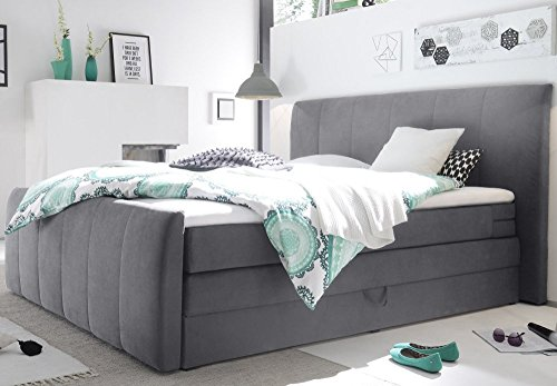 boxspringbett 180x200 cm 4 gang bonell federkern mit bettkasten anthrazit neu m bel24. Black Bedroom Furniture Sets. Home Design Ideas
