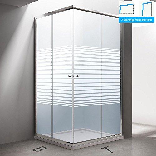 BTH: 75x90x190 cm Design Duschabtrennung Ravenna14S, ESG-Sicherheitsglas Klarglas mit Milchglas Streifen, inkl. beidseitiger Nanobeschichtung, Eckdusche