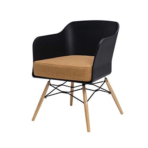 BUTIK Design Esszimmerstuhl Cooper in Schwarz - Maße 77x61x49 cm - braunes Sitzkissen aus hochwertiger Baumwolle (Schwarz/Braun)