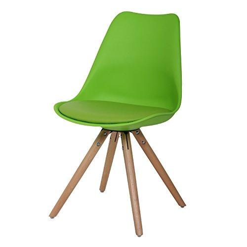 BUTIK FL20354-2 Esszimmerstuhl Woody 2-er Set, Höhe x Breite x Tiefe: 83 x 48 x 39 cm, grün/holz