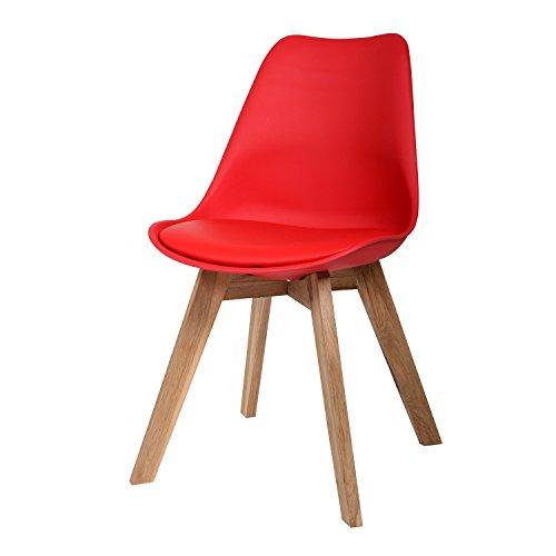 BUTIK Moderner Design Esszimmerstuhl Consilium Valido / Holz - Maße 83x48x39 cm (Rot)