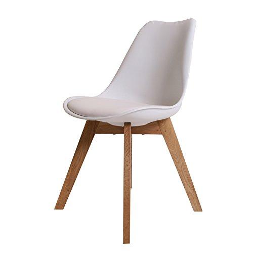 BUTIK Moderner Design Esszimmerstuhl Consilium Valido / Holz - Maße 83x48x39 cm (Weiß)