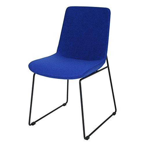 BUTIK Moderner Esszimmerstuhl City in Dunkelblau - Maße HxBxT: 83x44x43 cm - Sitzkissen aus hochwertigem Stoff (Wolle)