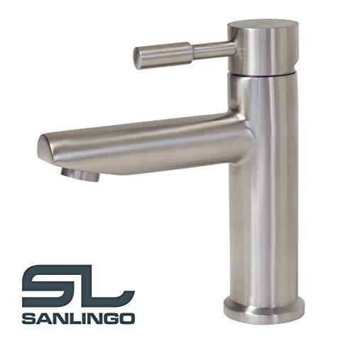 Bad-Badezimmer-Waschbecken-Waschtisch-Edelstahl-Massiv-Armatur-Wasserhahn-Sanlingo-0
