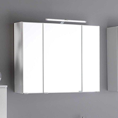 Bad Spiegelschrank in Weiß 3D Effekt Breite 90 cm Pharao24