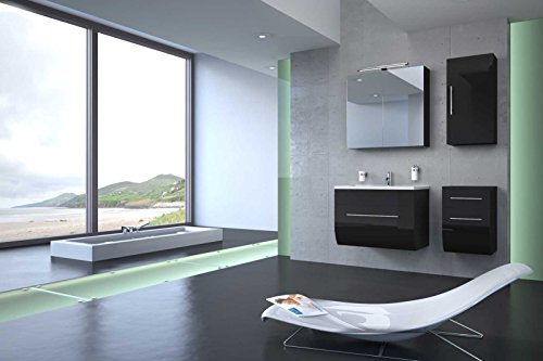 Bad11-4-teiliges-Badmbelset-ZARIF-Hochglanz-schwarz-mit-70-cm-Waschplatz-und-Mineralguss-Waschbecken-Schubfach-Spiegelschrank-Unterschrank-mit-zwei-Schubfchern-und-Hngeschrank-mit-Tr-Bad-mit-Edelstahl-0