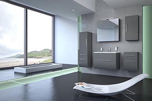 Bad11-5-teiliges-Badmbelset-ZARIF-Hochglanz-grau-mit-70-cm-Waschplatz-und-Mineralguss-Waschbecken-Schubfach-Spiegelschrank-Unterschrank-mit-zwei-Schubfchern-Hochschrank-mit-zwei-Schubfchern-und-Tr-und-0